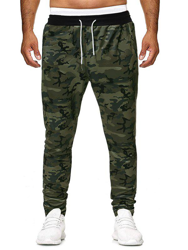 Best Camouflage Printed Asymmetric Zip Pocket Drawstring Pants