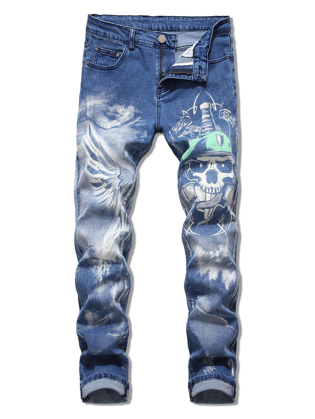 Best Skull Printed Zip Fly Casual Jeans