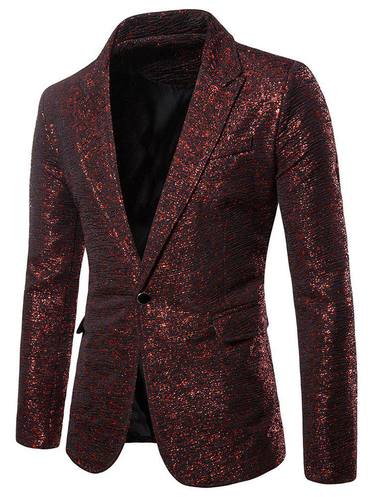 Outfits Glitter Gilding Print One Button Party Blazer