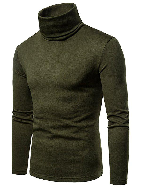 Cheap Solid Color Long Sleeve Turtle Neck Fleece T-shirt