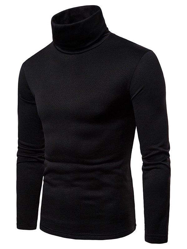 Unique Solid Color Long Sleeve Turtle Neck Fleece T-shirt