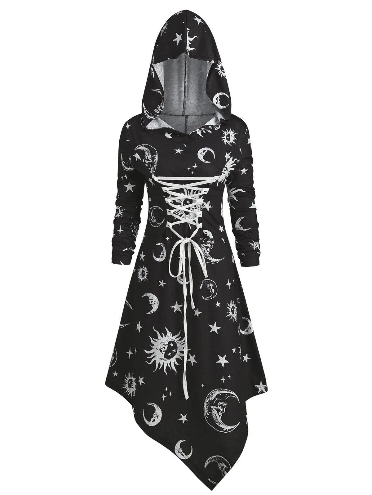 Latest Skull Sun and Moon Lace Up Halloween Asymmetric Dress