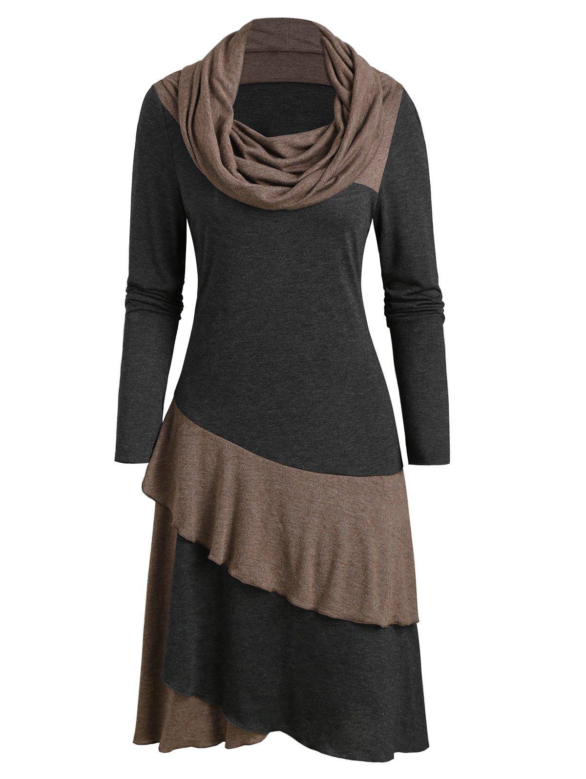 Store Cowl Neck Long Sleeve Contrast Heathered Layered Dress