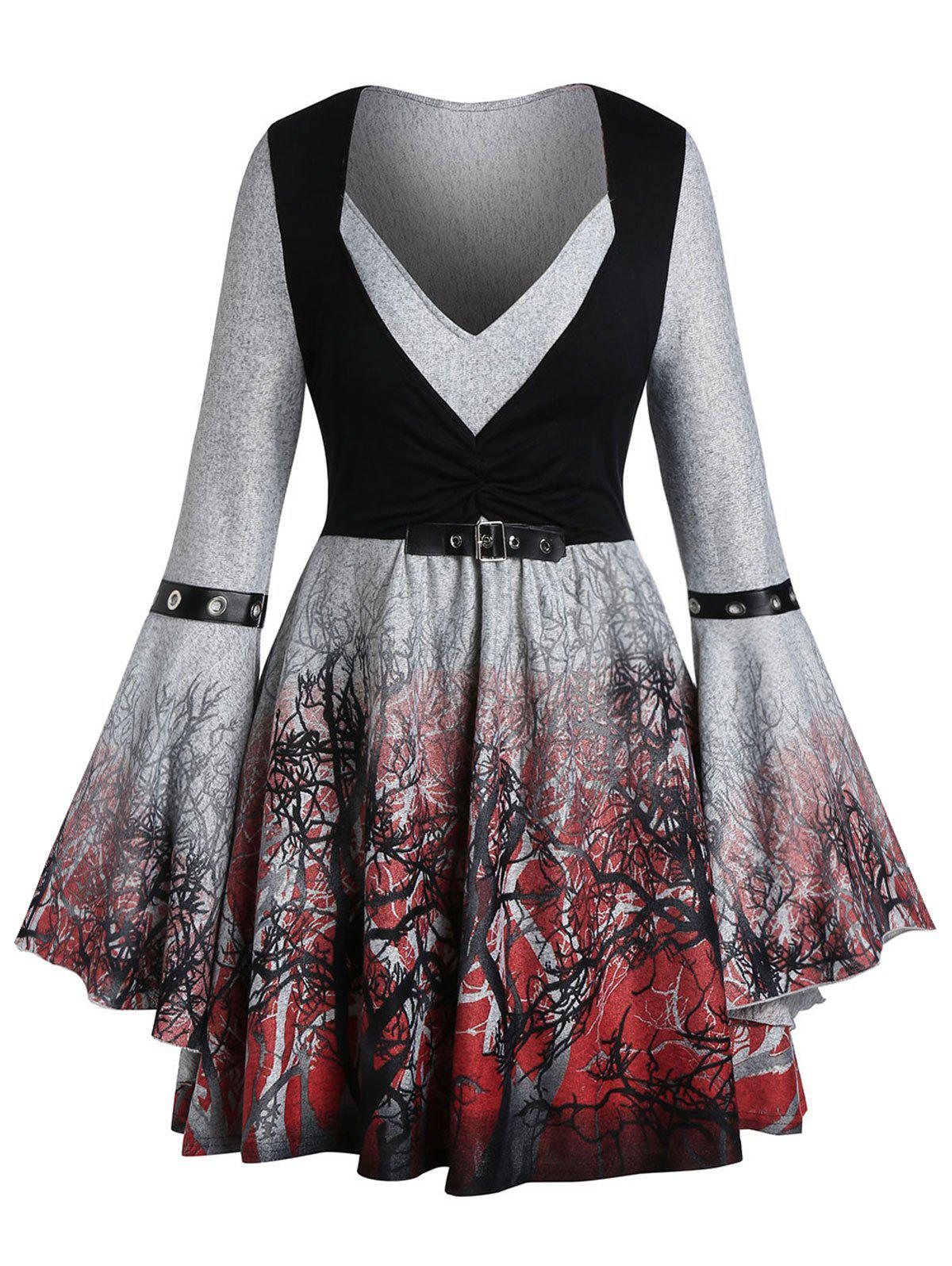 Fashion Plus Size Halloween Buckle Ombre Tree Print Bell Sleeve Gothic Tee