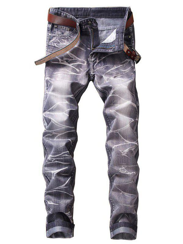 Affordable Long Faded Wash Print Zipper Fly Jeans