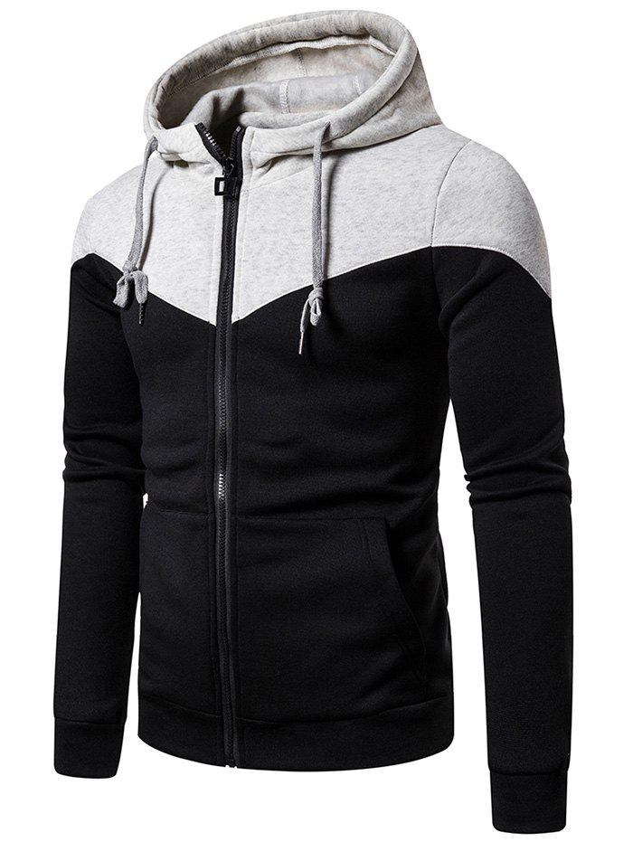 Trendy Contrast Shoulder Front Pocket Zip Up Hoodie