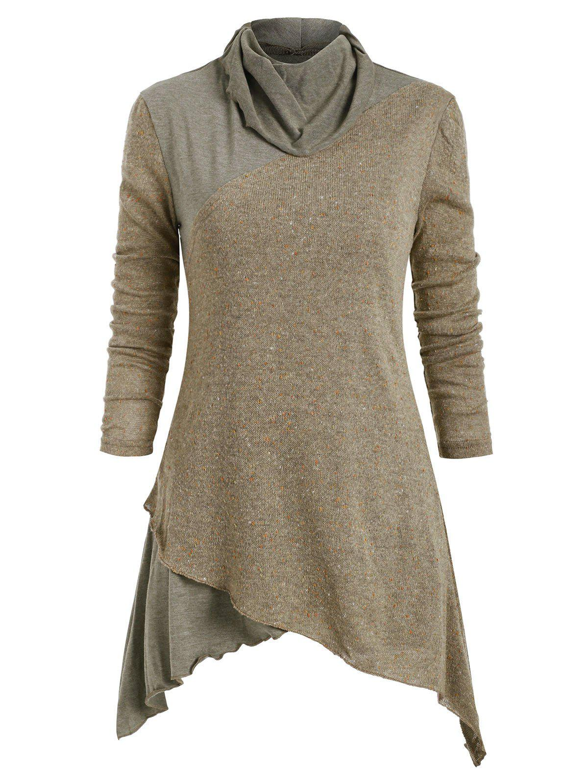 Fashion Patched Asymmetric Long Sleeves Knitwear