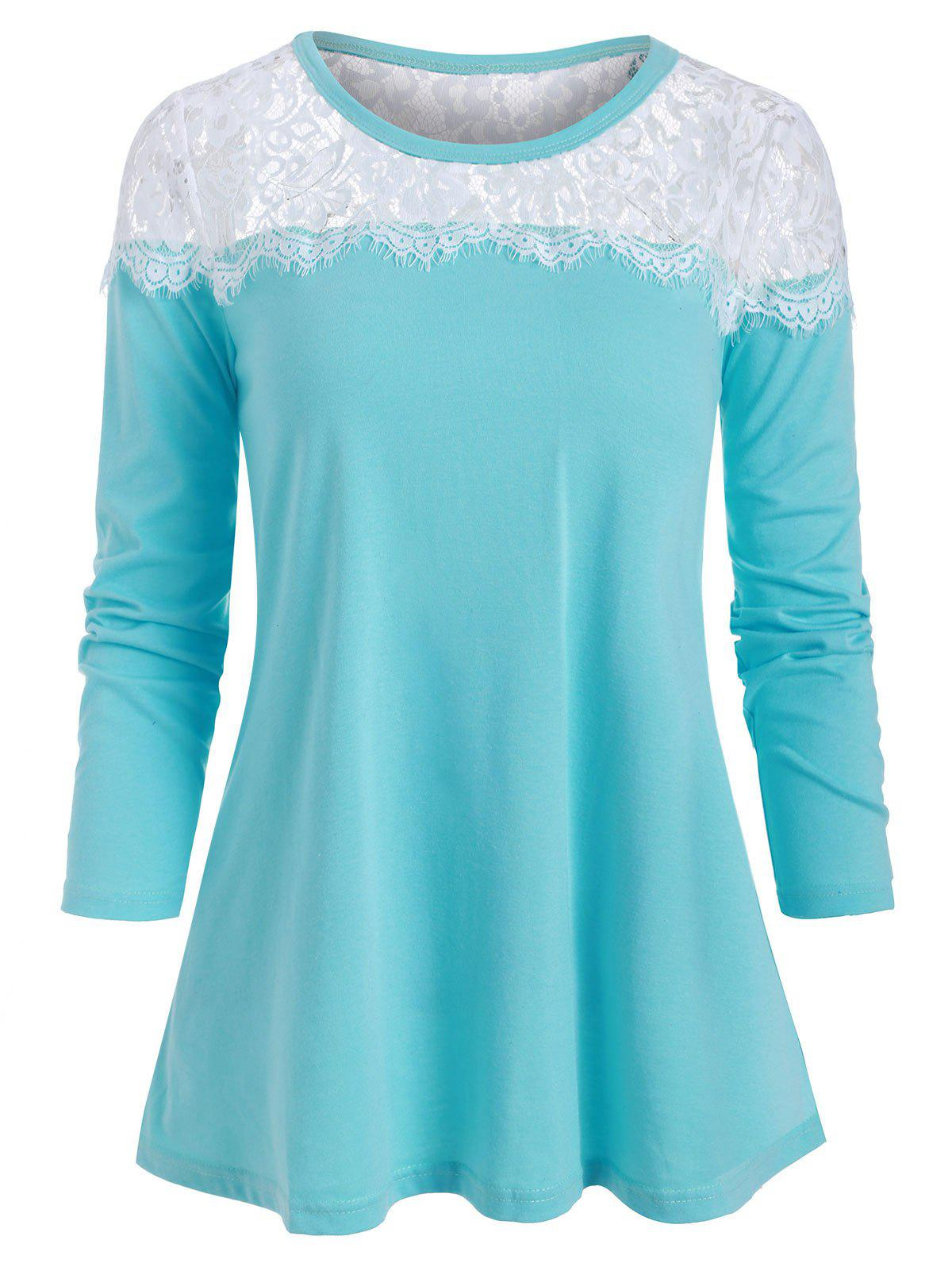 Fancy Lace Panel Round Neck Casual Tee