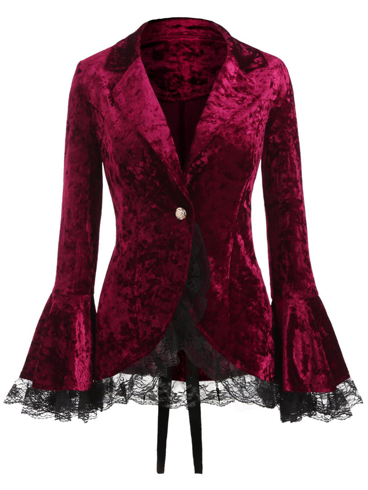 Trendy Lace Panel Lapel Button Coat