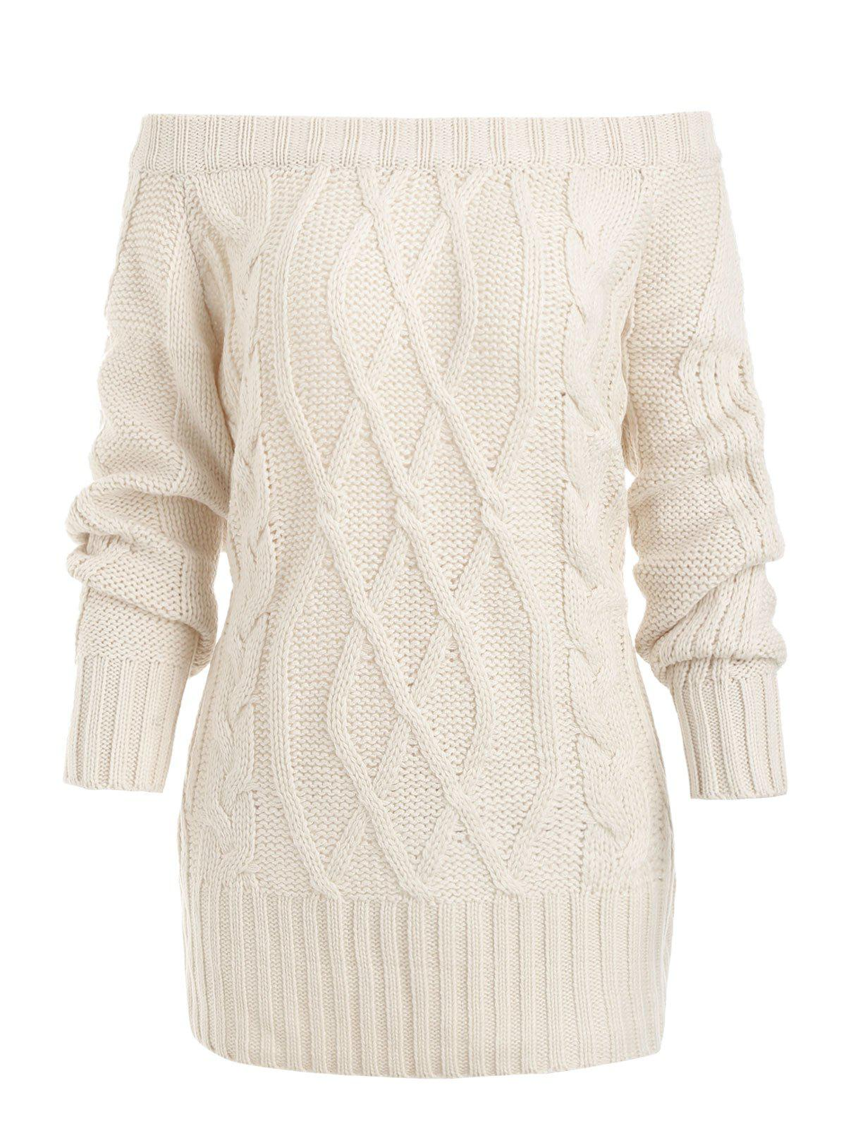 Store Cable Knit Off Shoulder Loose Sweater