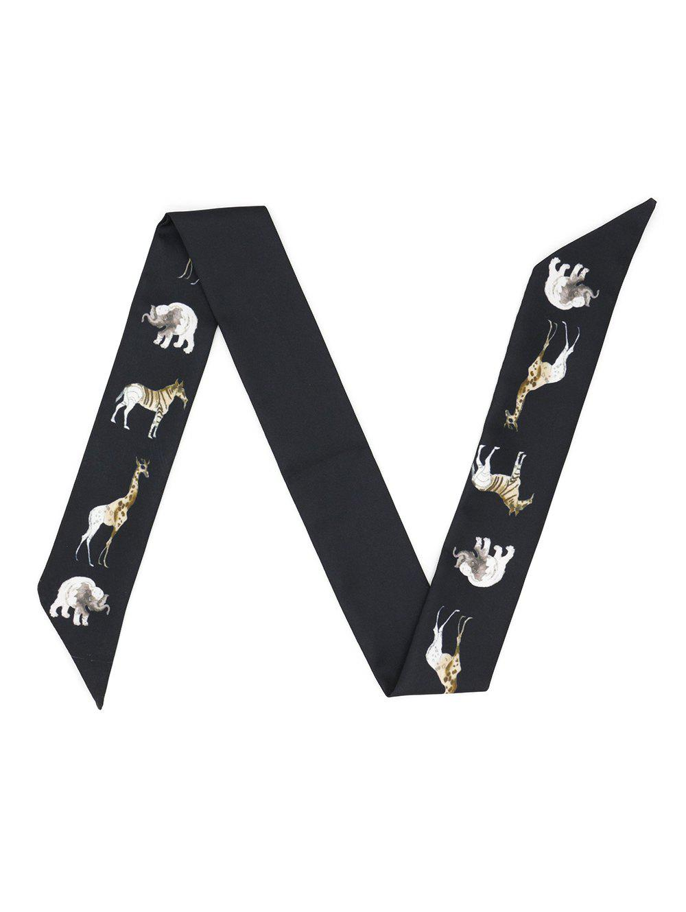 Sale Double-sided Animal Printing Twill Narrow Ribbon Scarf