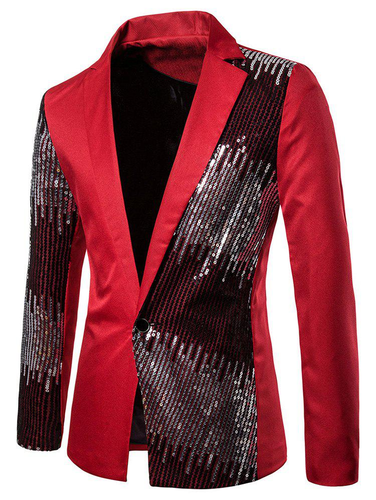 Fashion Shiny Sequined Panel Lapel One Button Party Blazer
