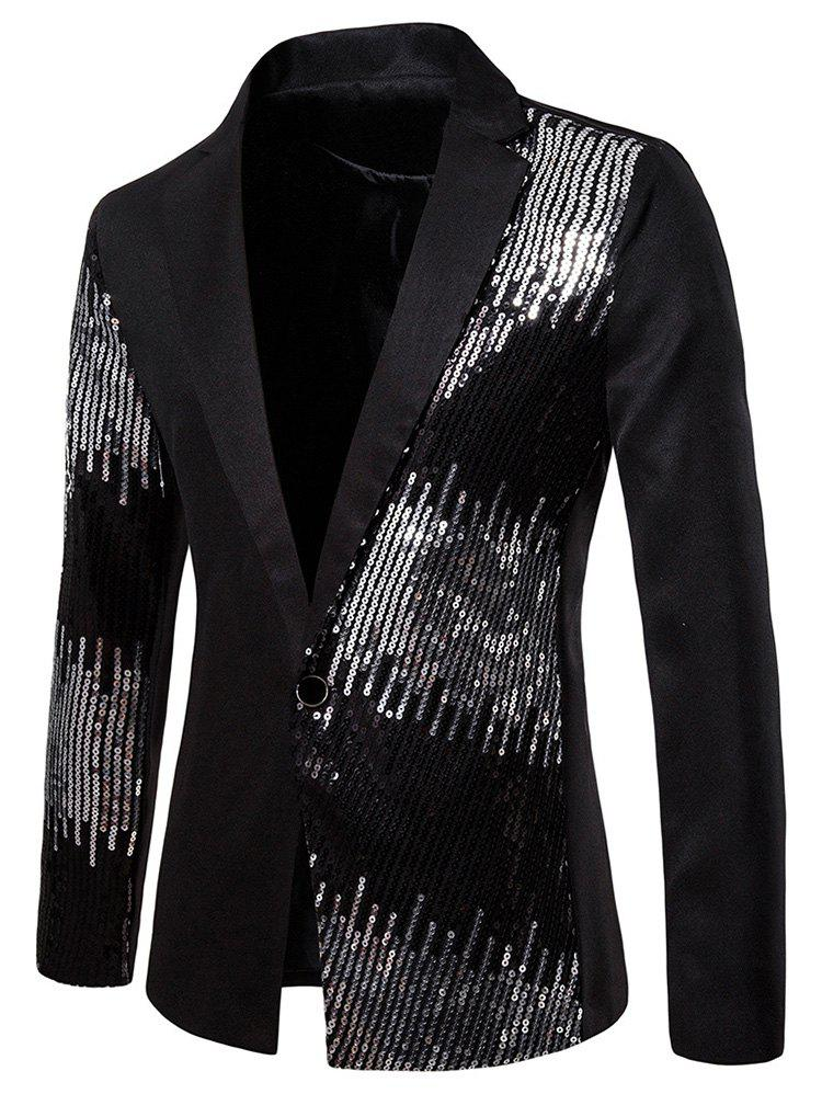 Outfits Shiny Sequined Panel Lapel One Button Party Blazer