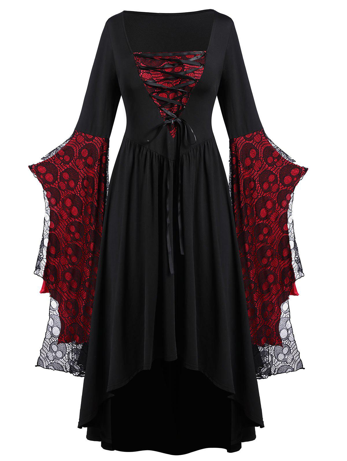 Best Plus Size Halloween Skull Lace Bell Sleeve Maxi Party Dress