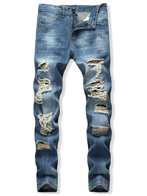 Store Distressed Destroy Wash Scratch Long Straight Jeans