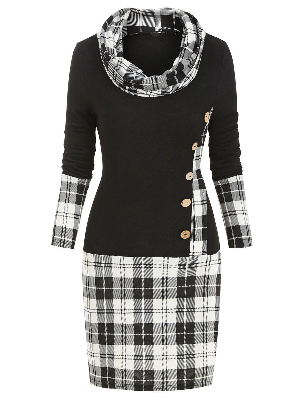 Discount Cowl Neck Plaid Print Mock Button Long Sleeve Sheath Dress