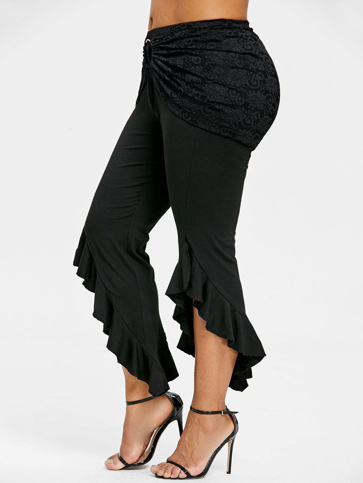 Latest Plus Size Removable Lace Insert Ruffle Skirt Pants