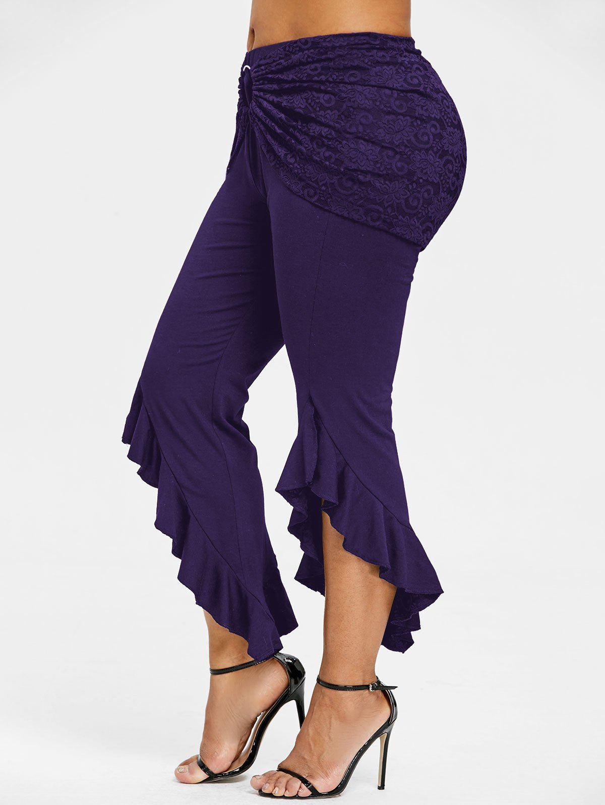 Affordable Plus Size Removable Lace Insert Ruffle Skirt Pants