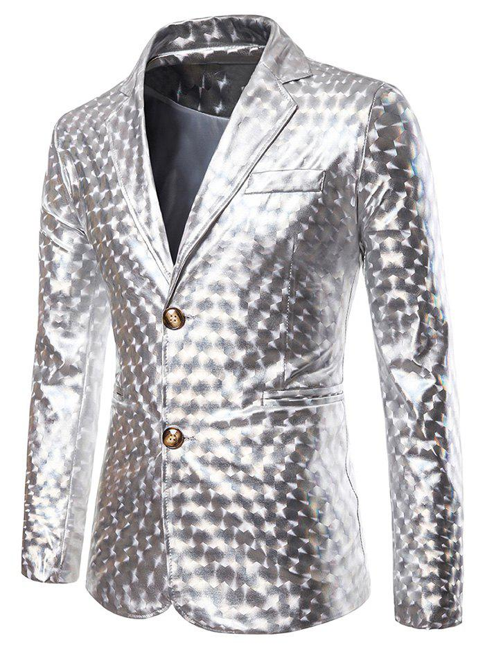Store Metallic Geometric Single Breasted Party Blazer