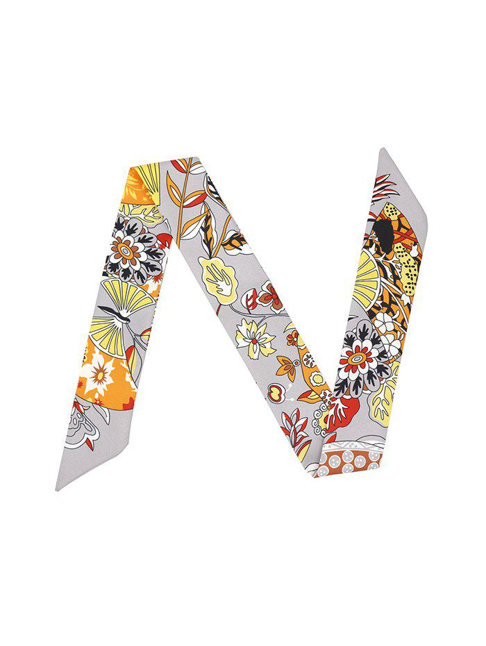 Chic Flower Printed Ribbon Narrow Long Scarf