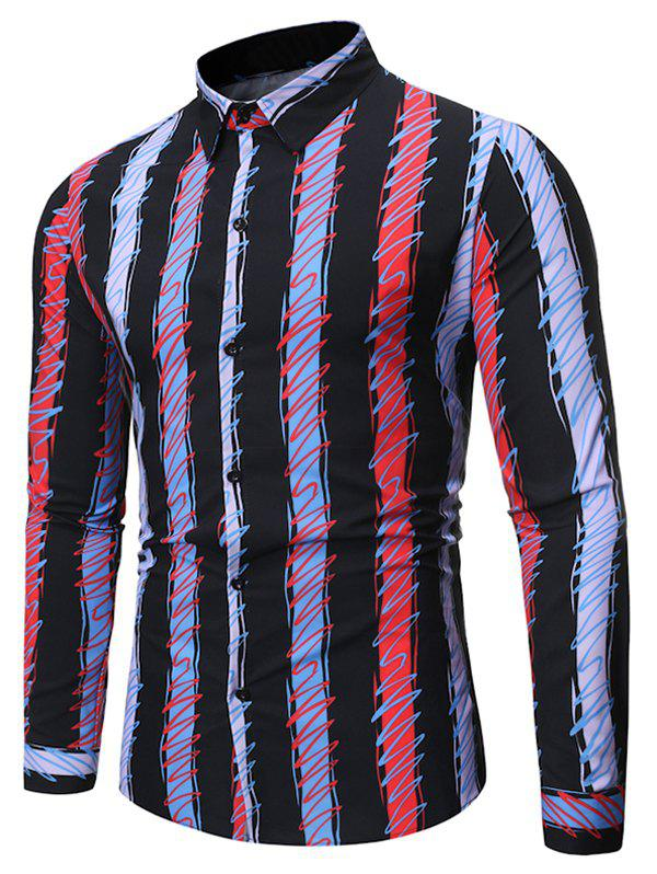 Fancy Colorful Striped Print Full Sleeves Shirt