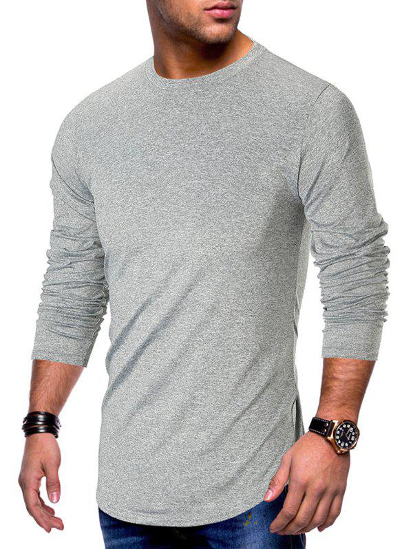 Sale Long Sleeve Curved Hem Solid T-shirt