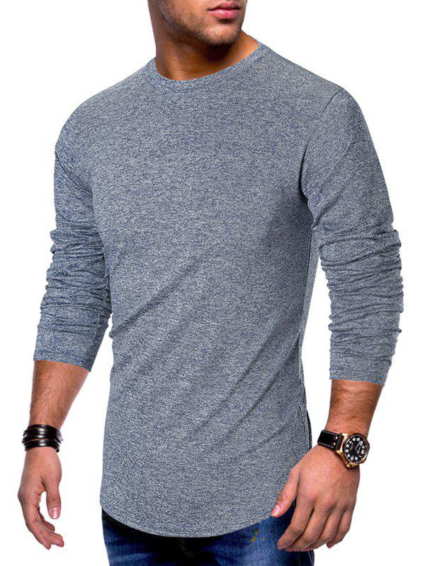 Affordable Long Sleeve Curved Hem Solid T-shirt