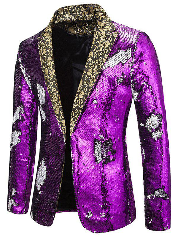 Fashion Glitter Convertible Sequins Lapel Party Blazer