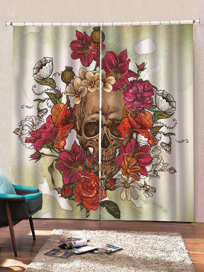 Online 2 Panels Halloween Flowers and Skull Print Window Curtains