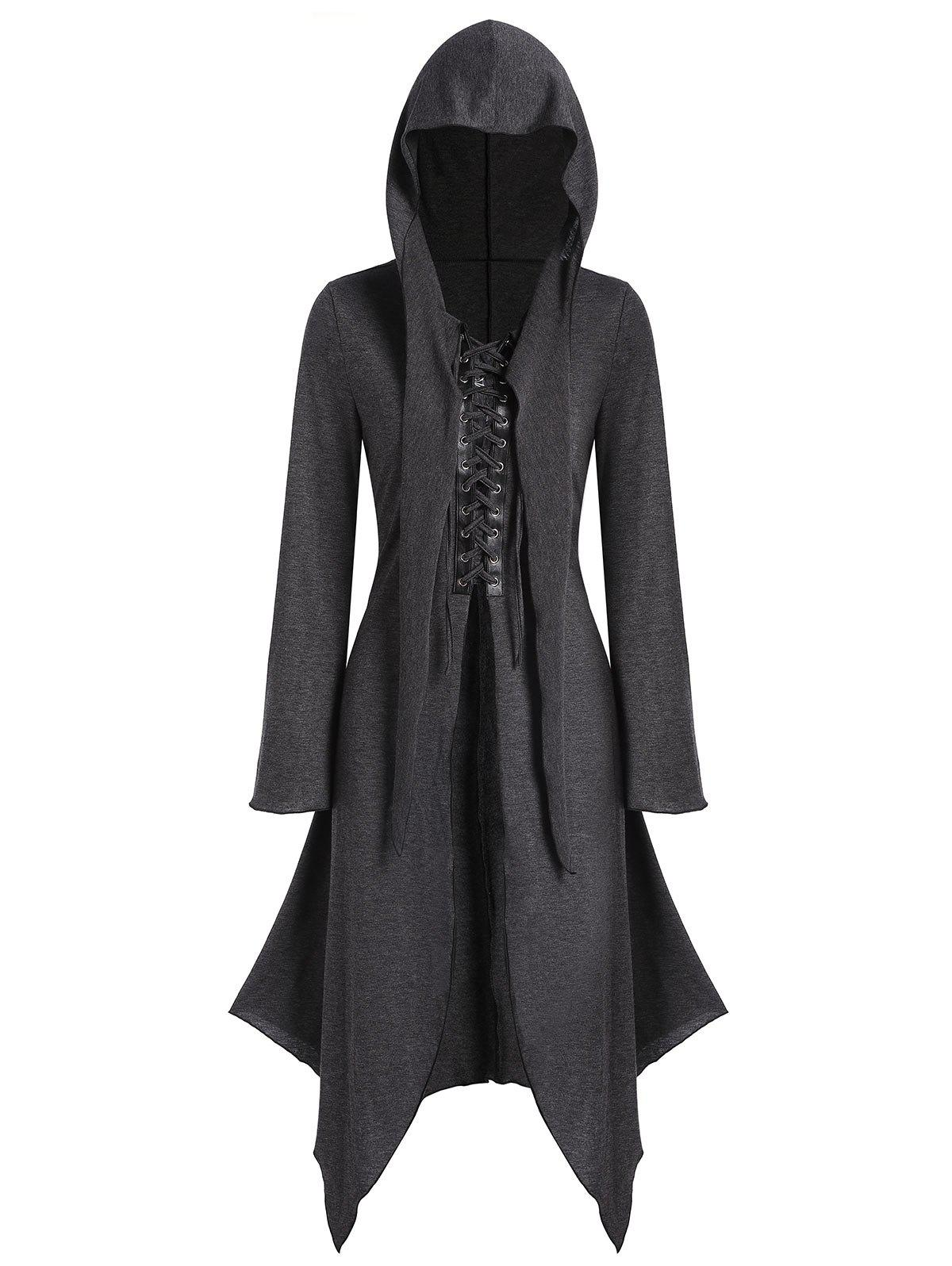 Latest Lace-up Front Hooded Heathered Handkerchief Gothic Coat