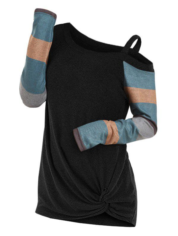 Outfit Twisted Skew Neck Color Block Knitwear