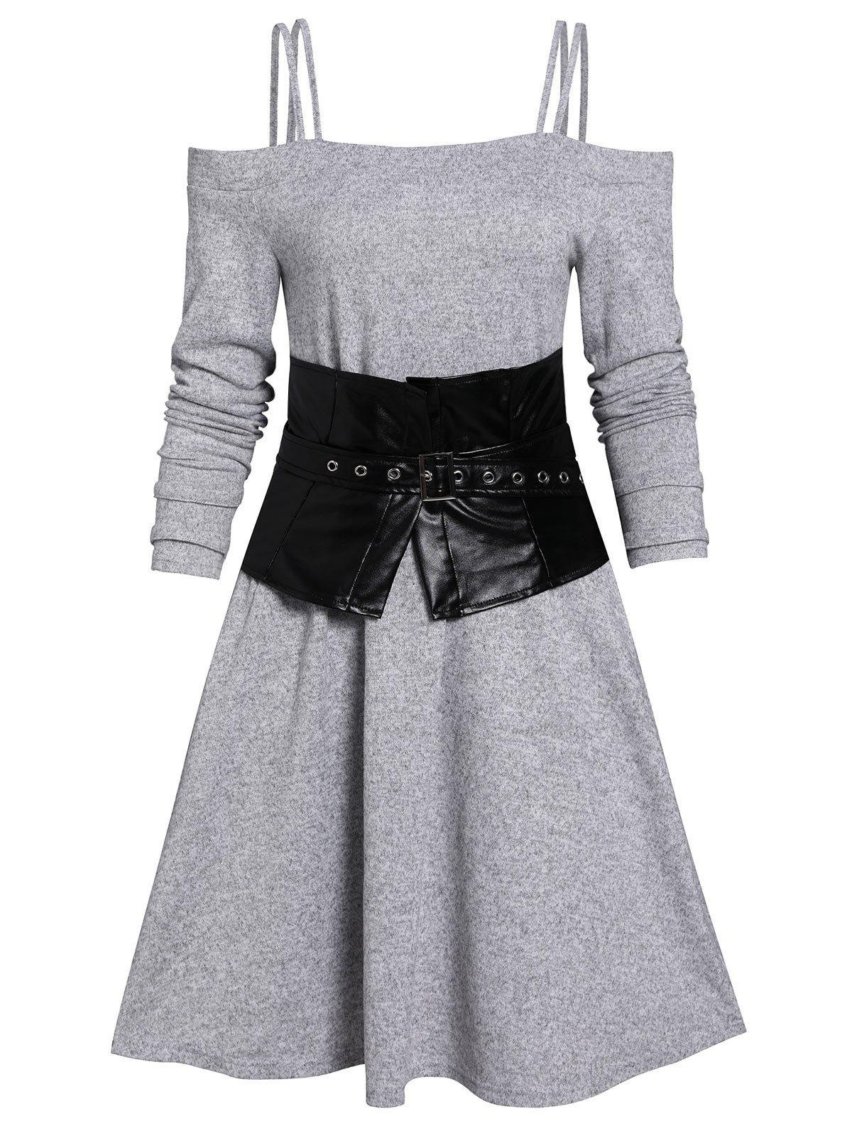 Online Cold Shoulder Dress And Corset Belt