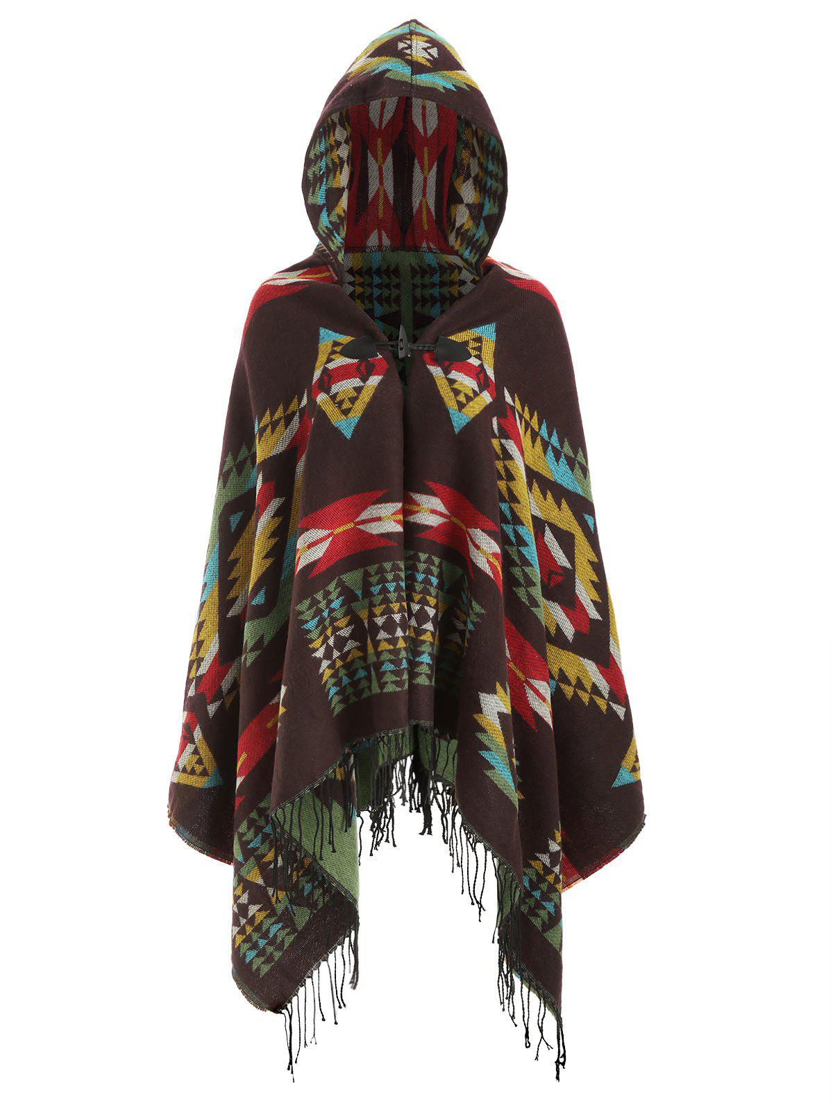 Discount Plus Size Hooded Fringed Tribal Poncho Cardigan