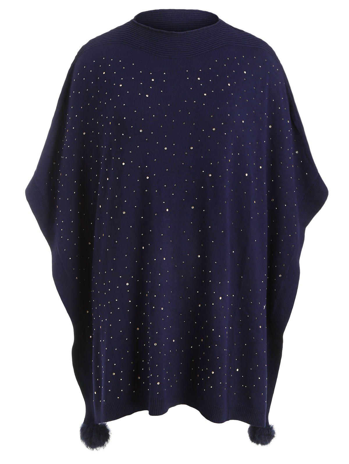 Pull Poncho Boule Fourré Grande Taille avec Strass