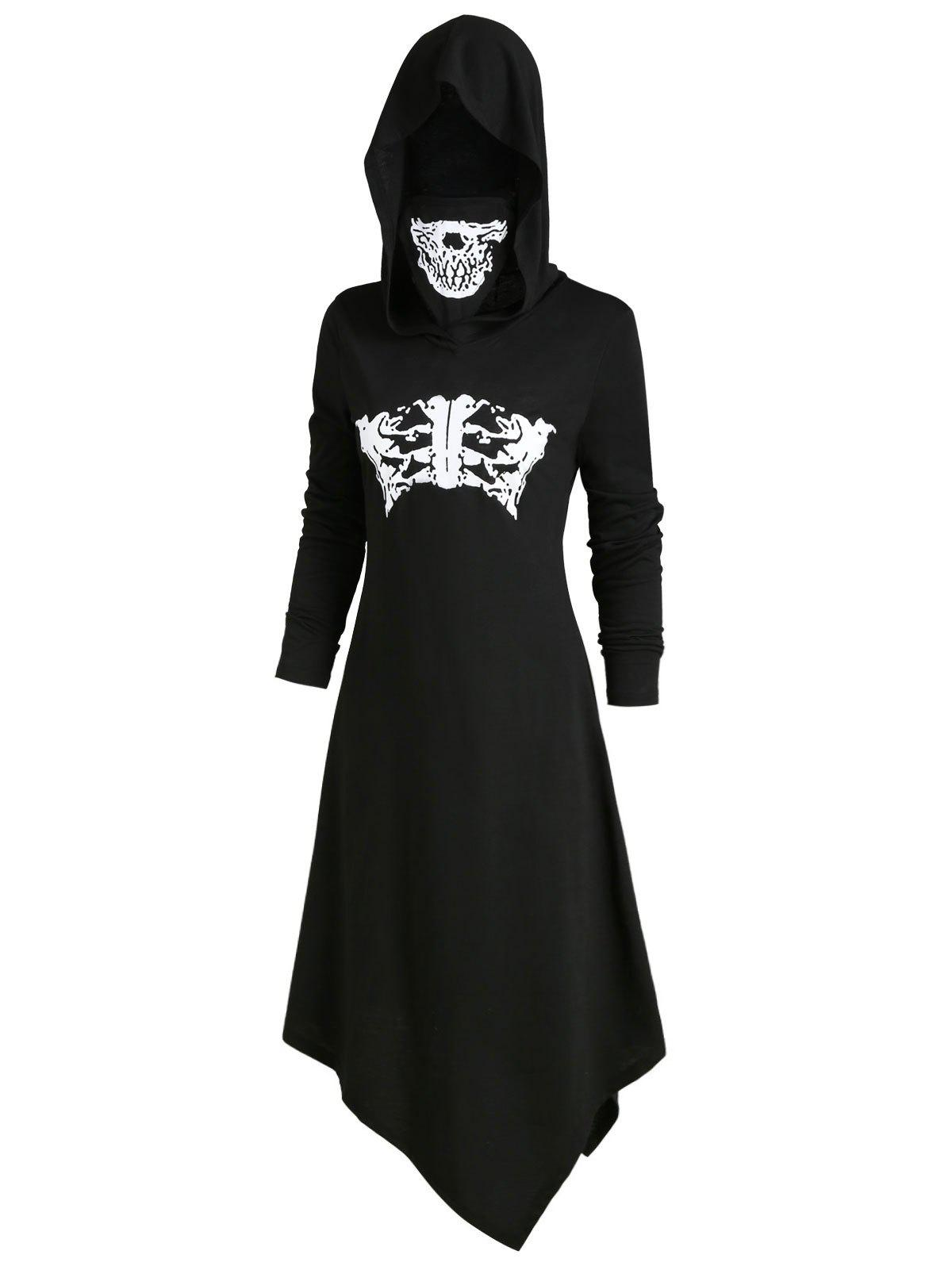 New Skeleton Long Sleeves Halloween Hooded Dress with Mask