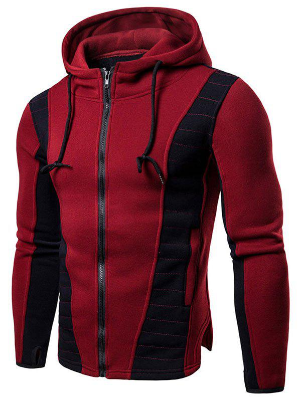 Discount Contrast Color Splicing Slit Drawstring Casual Zipper Hoodie
