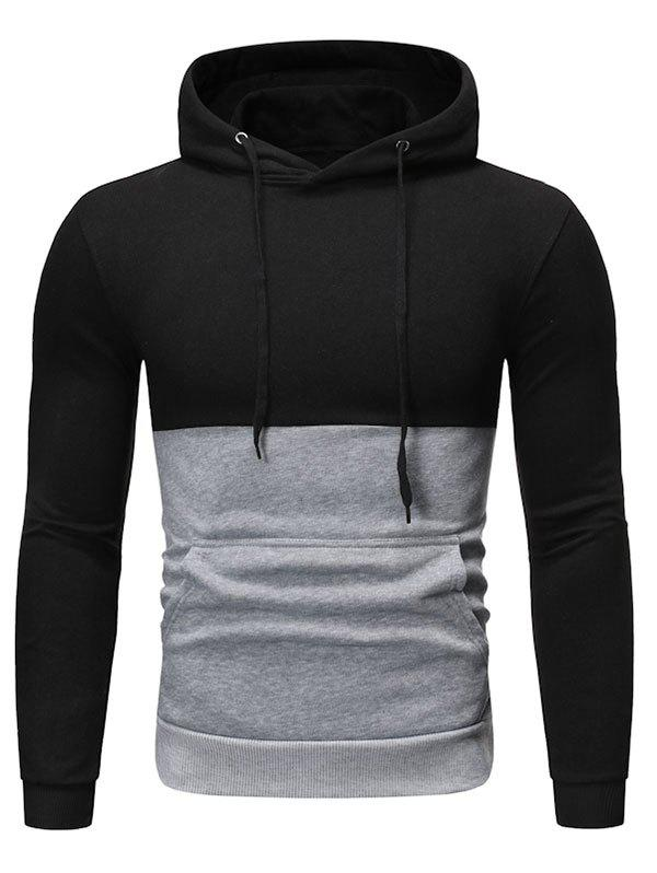 Buy Two Tone Color Panel Pullover Hoodie