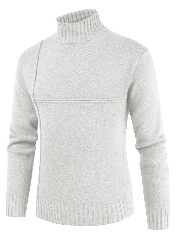 Cheap Solid Color Mock Neck Long Sleeves Sweater