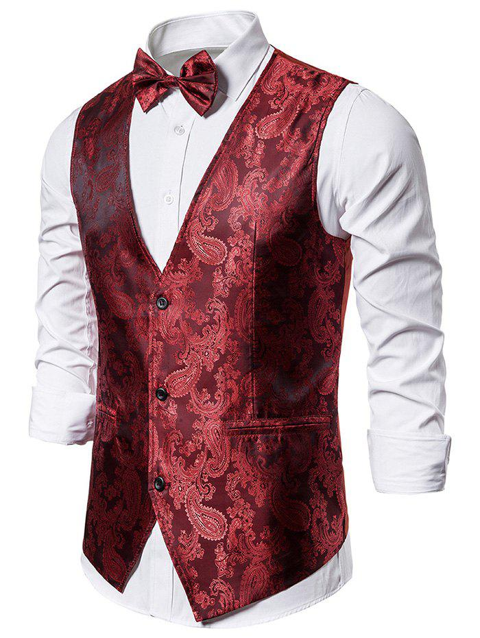 Hot Paisley Jacquard Tuxedo Vest with Bow Tie