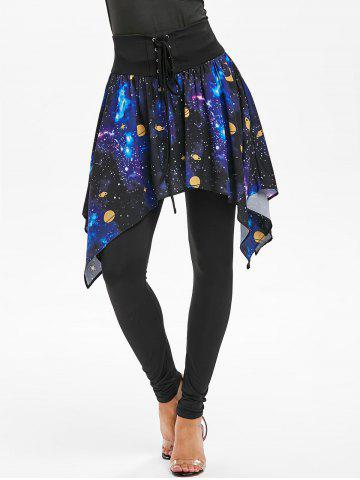 Lace-up Galaxy Print Skirted Leggings
