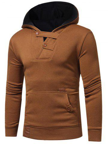 Applique Button Design V-neck Fleece Hoodie