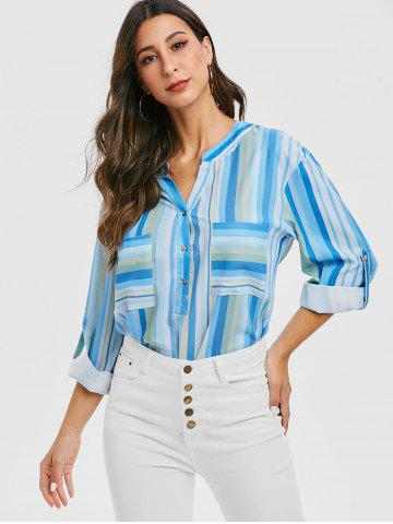 Striped V Neck Pockets Longline Blouse