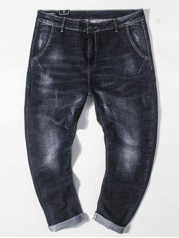 Plus Size Dark Wash Destroyed Tapered Jeans