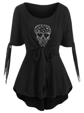 Halloween | Skull | Front | Star | High | Plus | Size | Low | Tie | Top | Ty