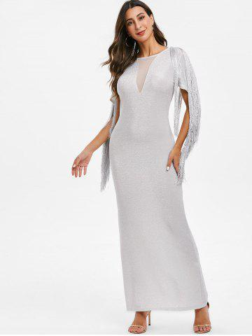 Sparkly Fringed Mesh Panel Maxi Party Dress