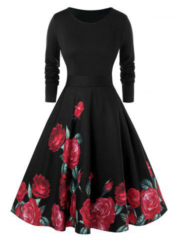 Plus Size Fit And Flare Floral Print Zippered Vintage Dress