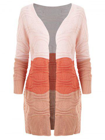 Plus Size Color-blocking Drop Shoulder Longline Cardigan