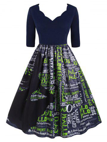 Plus Size Vintage Letter Print Halloween 1950s Party Dress