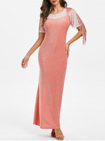 Sparkly Mesh Insert Fringed Maxi Party Dress - ORANGE PINK - S