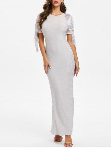 Sparkly Mesh Insert Fringed Maxi Party Dress
